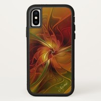 Abstract Red Orange Brown Green Fractal Art Name iPhone X Case
