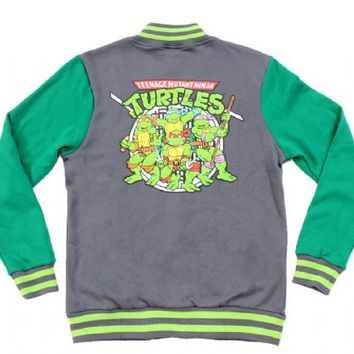 d2bca16a TMNT Teenage Mutant Ninja Turtles Adult Green & Charcoal Varsity Jacket