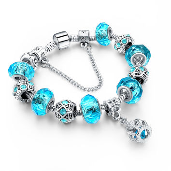 New Fashion Silver Plated Charm Bracelet For Women Royal Crown Bracelet Purple Crystal Beads Diy Jewelry