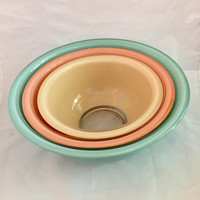 Pyrex Mixing Bowls, Pastel Glass Nesting Bowls, Vintage Pyrex, Teal Coral and Cream