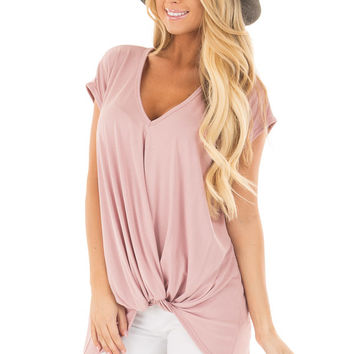 Blush Short Sleeve Hi Low Top with Twist Front Detail