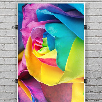 Rainbow Dyed Rose V4 - Ultra Rich Poster Print