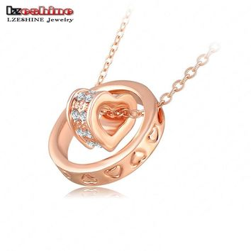 Double Necklaces & Pendants 18K Rose Gold/Platinum Plated Austrian Crystal Circle Heart Necklace Pingente NL0004