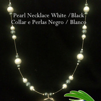 Black and White Floating Necklace, Black and White, Floating Necklace, Pearl Beads, Glass Beads,Glass Pearls, Beaded Necklace, Wrapping
