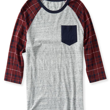 3/4 Sleeve Plaid Raglan Tee