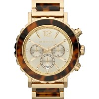 Michael Kors Watch, Women's Chronograph Lille Tortoise Acetate and Gold-Tone Stainless Steel Bracelet 45mm MK5790