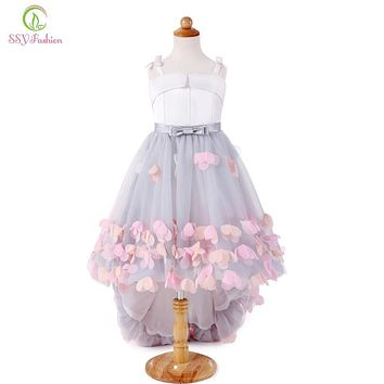 SSYFashion 2017 New Sweet Flower Girl Dresses for Wedding Short Front Long Back Satin with Tulle Appliques Straps Party Bll Gown