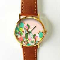 Succulent Cactus Plant Collection Watch 5, Vintage Style Leather Watch, Women Watches, Boyfriend Watch, Men's watch, Pink Green