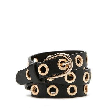 Grommet Faux Leather Belt