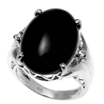 GENUINE NATURAL CABOCHON BLACK CORAL DIAMOND RING SET IN SOLID 14K WHITE GOLD