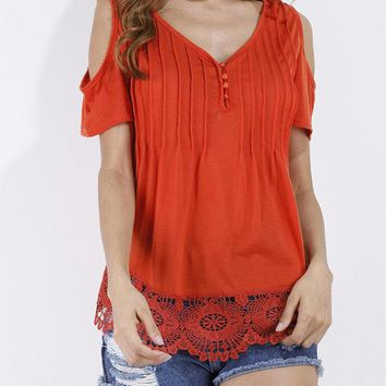 Lace Crochet Off Shoulder T-shirts