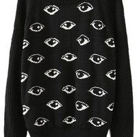 ROMWE | Eyes Print Black Jumper, The Latest Street Fashion