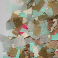Confetti, tissue paper, gold, ivory, mint, pink