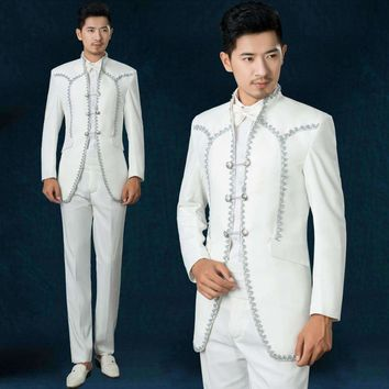Freeshipping Fasion Royal Prince Male Host Choir Costumes Studio Photos Theme Embroidery Mens Wedding Suits White