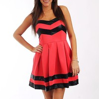 Edgy Sweetheart Dress, Coral