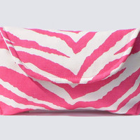 Sunglass Case - Pink Zebra Oversized - Free Shipping in US