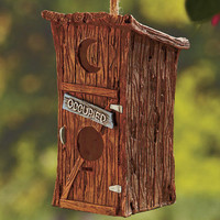 Novelty Occupied Outhouse Birdhouse Porch Tree Patio Garden Ready To Hang