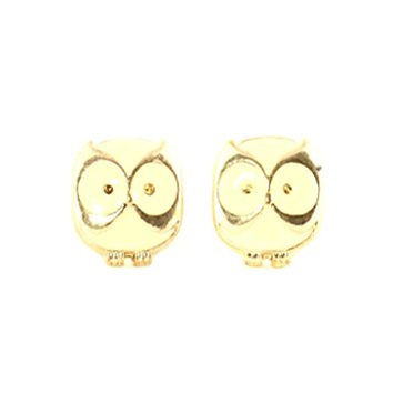 Owl Stud Earrings Vintage Gold Tone Enamel Bird Posts EI10 Fashion Jewelry