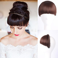 1pc Multi-color Bangs Natural Fake Hair Extension Hairpieces Braid bangs Hair fringe Bangs Hairpieces Front Hair Extensions