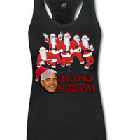 EAST KNITTING H324 HO HO HOBAMA Father Christmas Funny Printing Vest Fashion Summer Women Sexy Tank Top