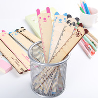 1 pcs Drafting Supplies Wood Straight Ruler 4 Colors Available Panda Shape Ruler Office Supplies Gift for Kids 15cm