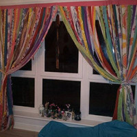 Gypsy Curtain Boho Hippie Bold Rod Pocket Rag Tattered - Teen Room, Window Treatments, Draperies