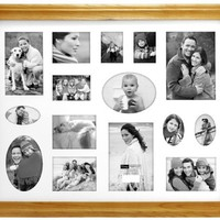 Home Profiles HP9224-15 Oak Large 15 opening Wood Picture Frame