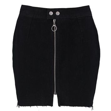 Zip Detail Denim Skirt | Boohoo