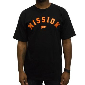On A Mission Tee in black and orange