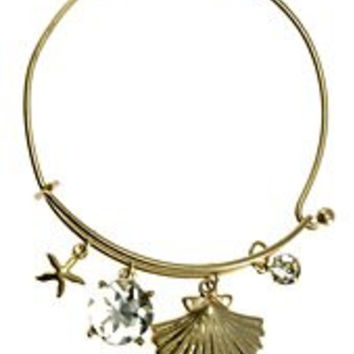 Womens Jewelry, SEA Shell, Gold Tone Metal Hook Bangle w/ Assorted Accents Crystal Accent Rhinestone Accent Sea Shell Gold Tone Metal Hook Bangle Assorted Accents - Materials: Metal - Length: Diamter: 2.5 Inch