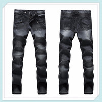 2014 Male Elastic Straight Trousers Promotion 100% Cotton Casual Denim Jeans Men Mid Waist Balm Pants Uglybros Motorcycle Jeans