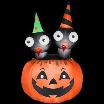 Gemmy 33 in. W x 33 in. D x 54 in. H Inflatable Halloween Crows Nest Jac-O-Lantern Scene-64277X - The Home Depot