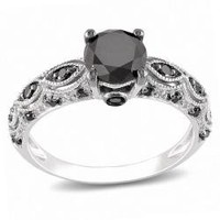 Miadora 10k White Gold 1 1/4ct TDW Black Diamond Ring | Overstock.com