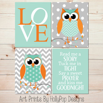 Nursery Art Prints Owl Nursery Wall Decor Mint Green Gray Orange Nursery Baby Boy Nursery Decor Nursery Quad Print Set Read Me A Story #1002