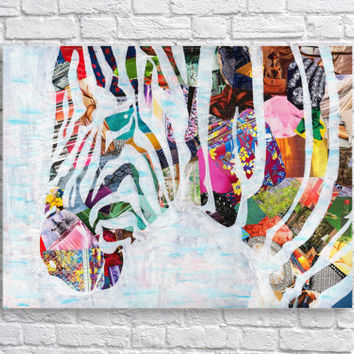 SALE!! Zebra decor- Zebra Art Print - Bohemian decor - Boho Art Print - Mixed Media -room decor -Whimsical art -Collage Painting- Animal