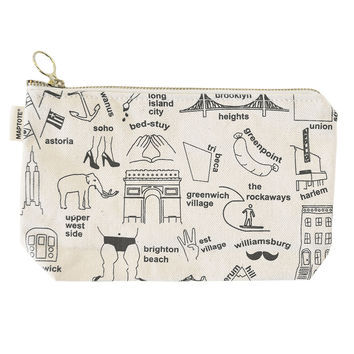 Maptote   New York City Zipped Pouches Natural
