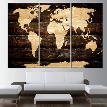 vintage world map canvas art print, Large wall Art, rustic World Map wall art, extra large wall art, map of the world  t442