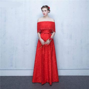 Abendkleider Longo Strapless Red Lace Bridesmaid Dresses Long Maid Of Honor Brides Maid Dresses