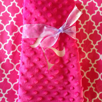 Pink and White Baby Blanket (28 x 28 inches) made with Cotton and Minky with loop to link Stroller or Car Seat - Option to Personalize