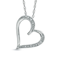 Diamond Accent Tilted Heart Pendant in Sterling Silver