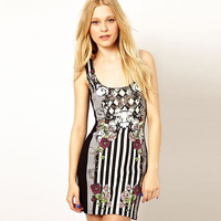 Flower Printed Black And White Stripes Sleeveless Mini Dress
