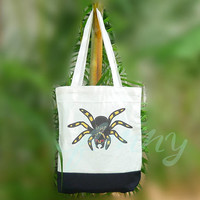 Spider tote bag 2 size Two tone off-white/black , shopping tote bag, printed tote bags