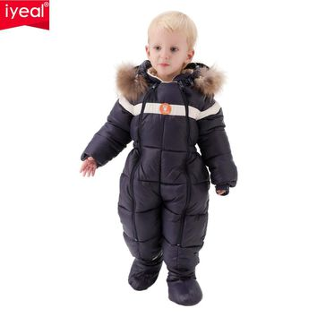IYEAL For -20 Degree Winter Baby Clothes Rompers  Kids Boys Girls Thick Down Cotton Jumpsuit Toddler Infant Outdoor Snowsuits