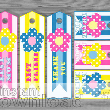 Best Mom, Best Friend, Thank you, printable bookmark and gift tag, pink yellow, blue, polka dot flower, ribbon, Medal of Honor, orden