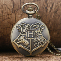 Hot Sale Big H Hogwarts School Motto Harry Potter Vintage Retro Pocket Watch with Chain for Women Men Gifts Free Shipping