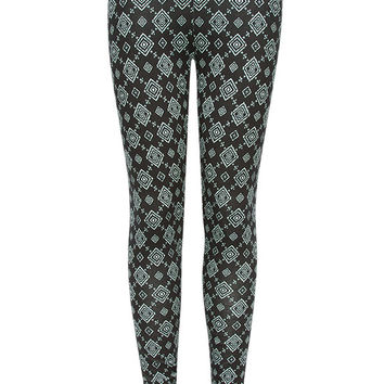 Full Tilt Girls Diamond Stamp Leggings Black/Mint  In Sizes