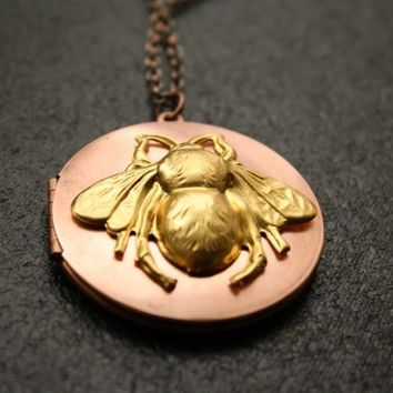 Bee Locket, Honey Bee Necklace, Long Copper Locket, Bee Keeper Necklace, Brass Bee Pendant Necklace, Bee Jewelry, Large Antique Locket