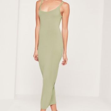 Missguided - Strappy Long Midi Jersey Dress Green