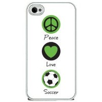 Peace Love and Soccer - iPhone 4 or 4s Cover, Cell Phone Case - White