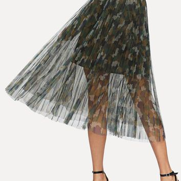 Camouflage Print See Through Mesh Skirt